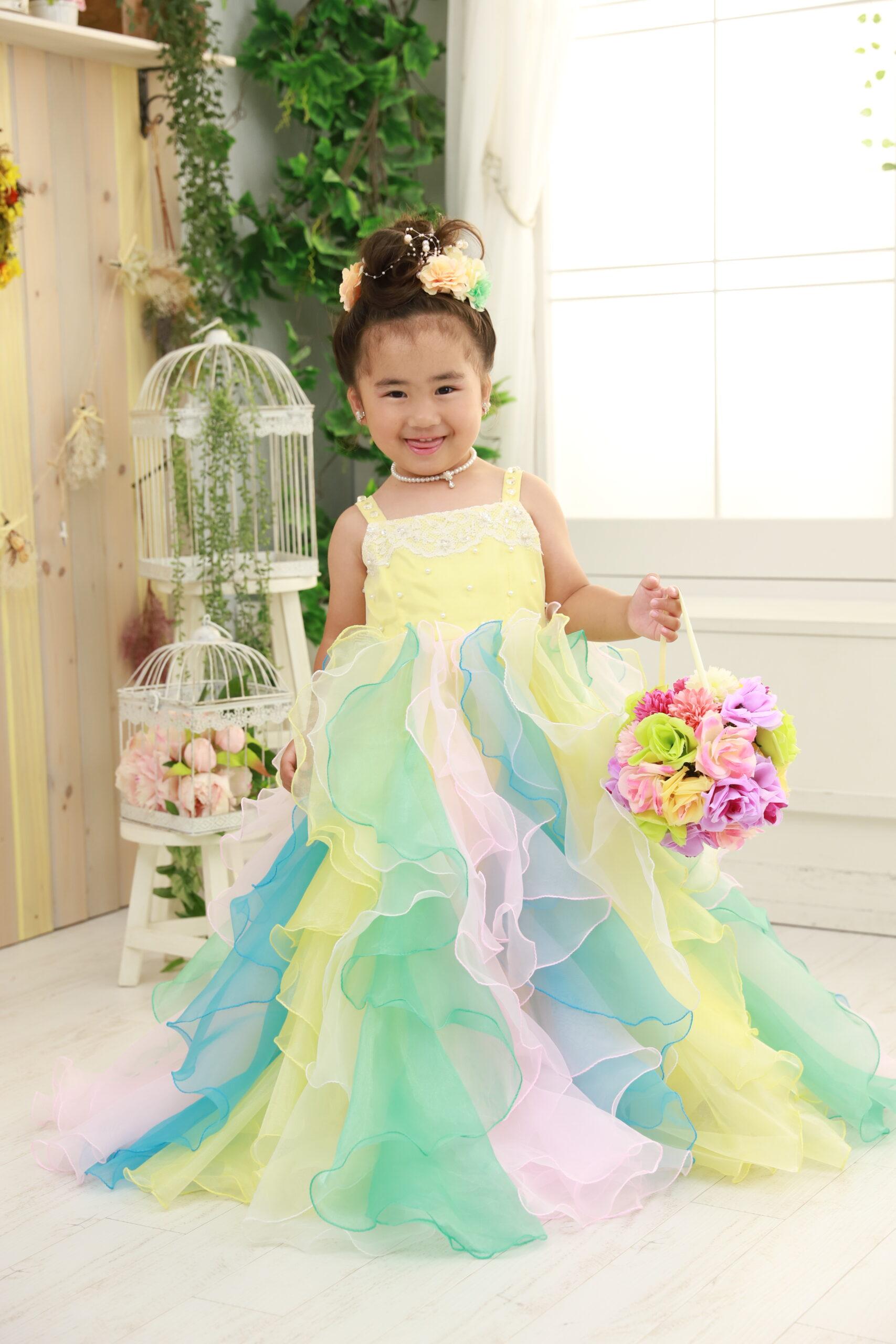 3歳の七五三(ドレス・黄色)