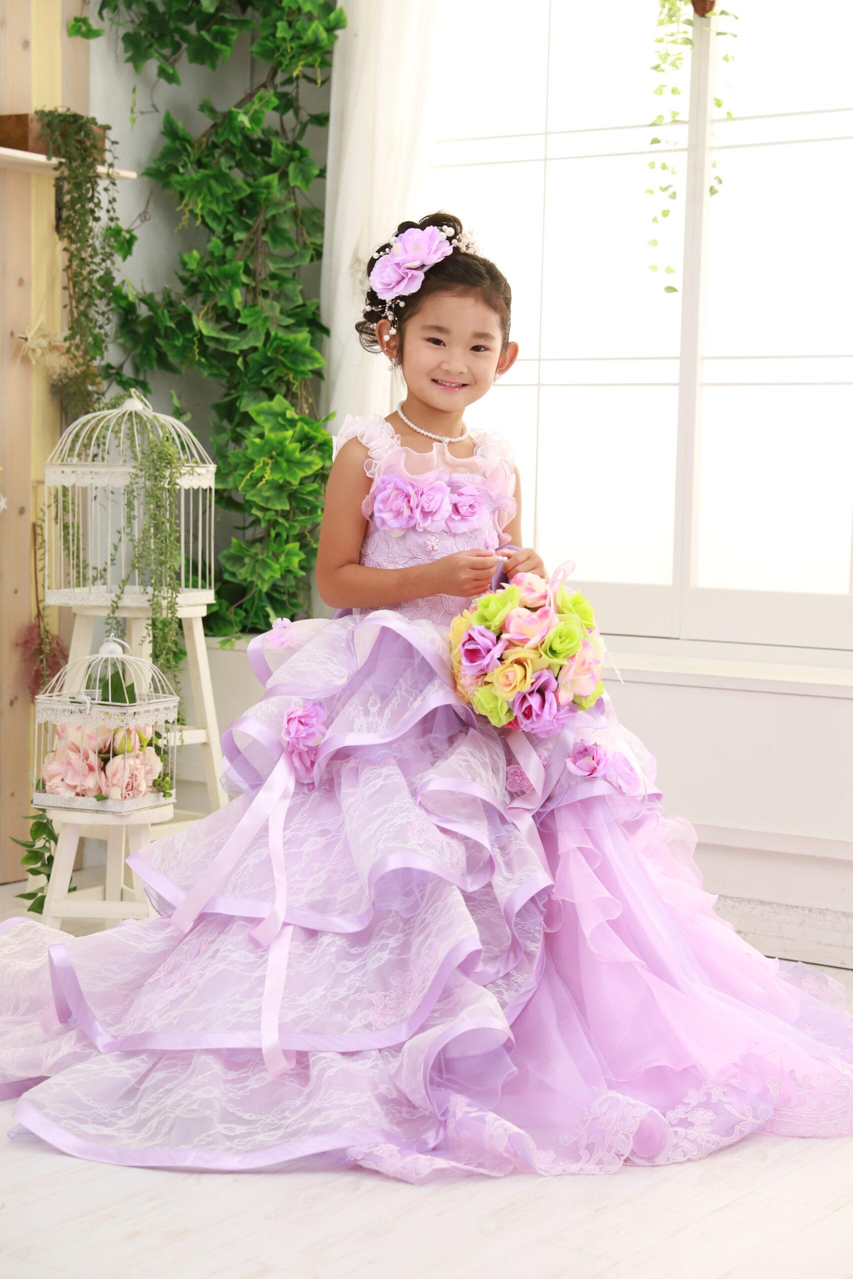 七五三 7歳のドレス まるでプリンセス 白のスタジオ