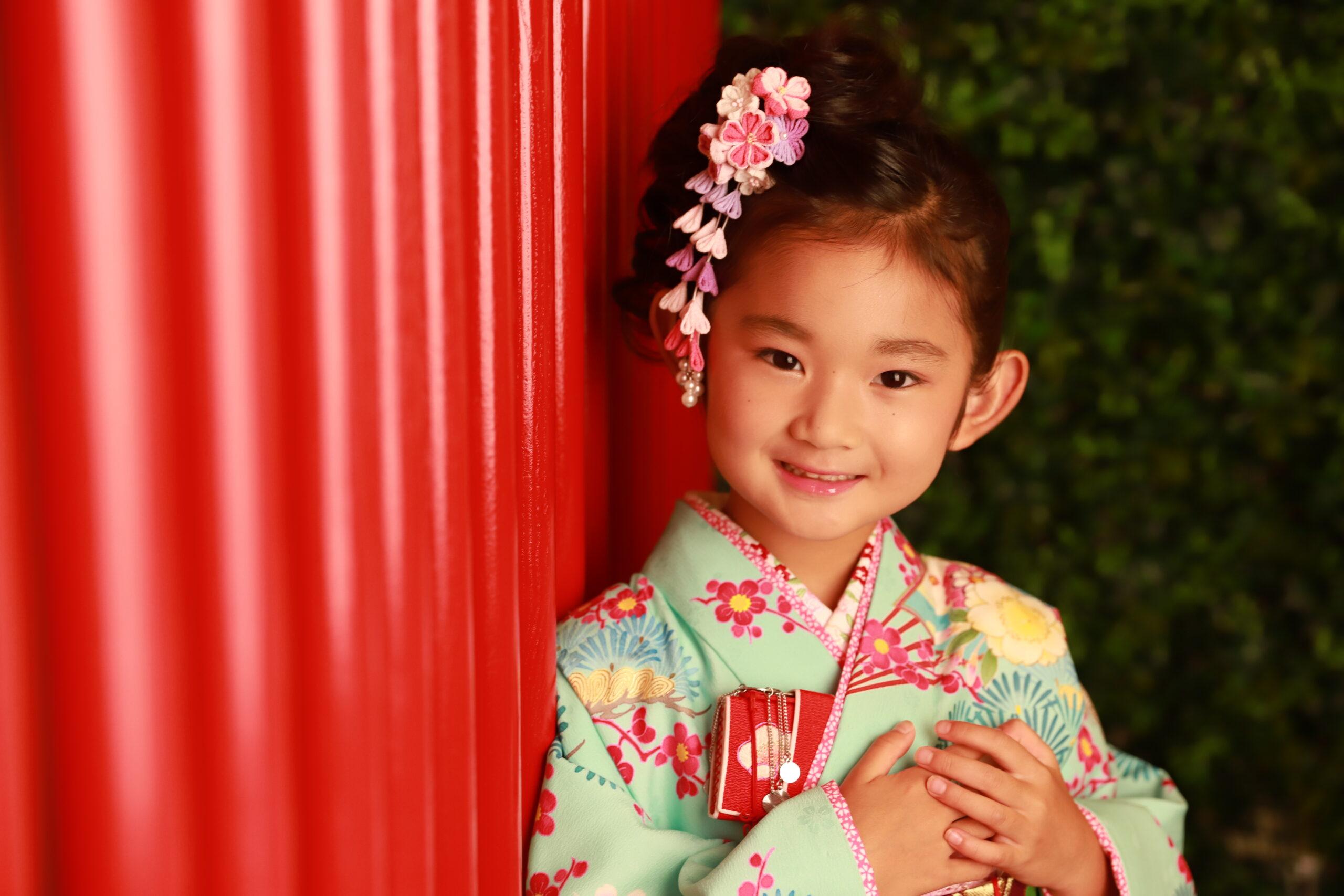 七五三 7歳の着物 京都のようなスタジオで