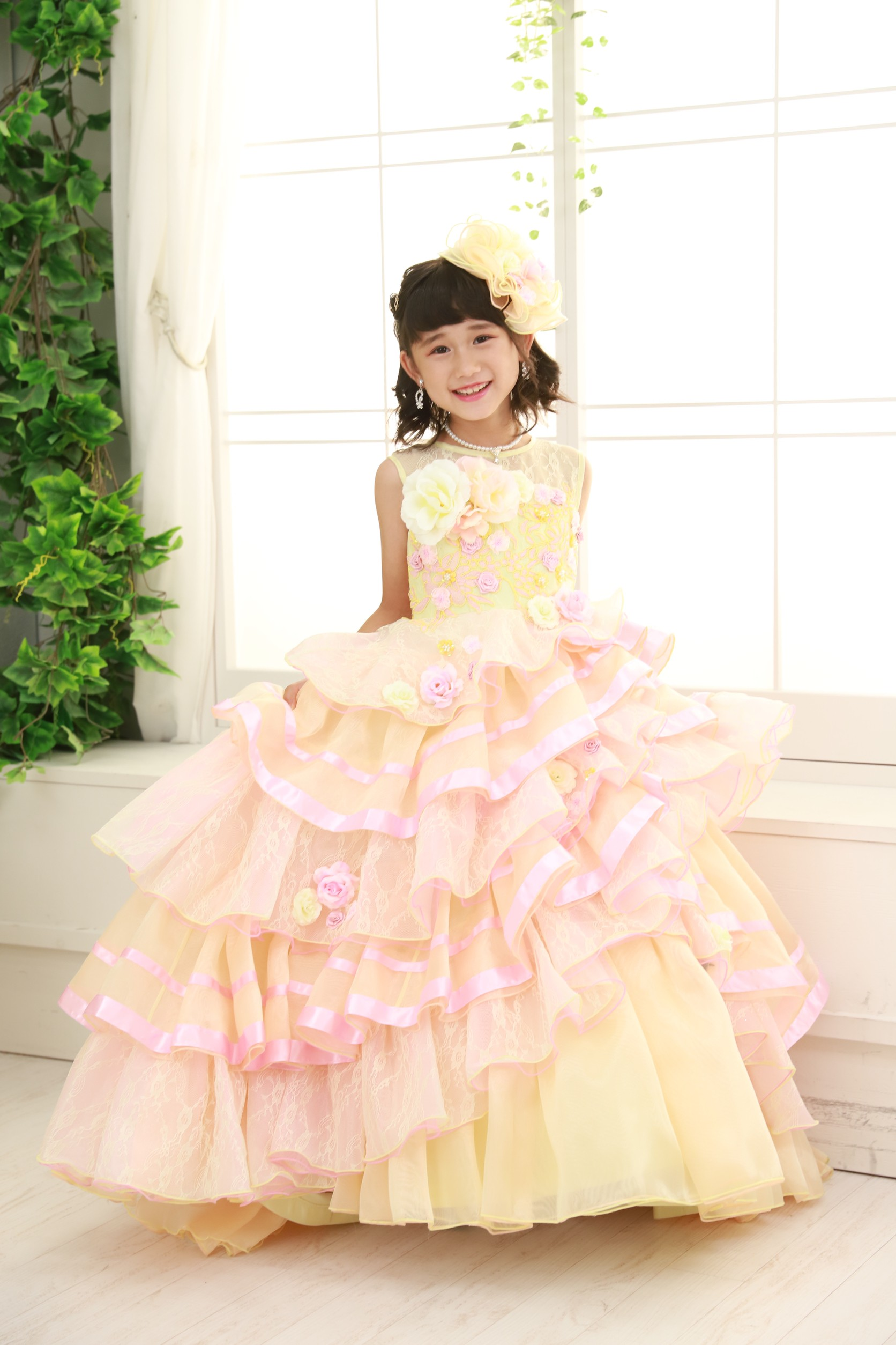 7歳の七五三(ドレス・黄色)