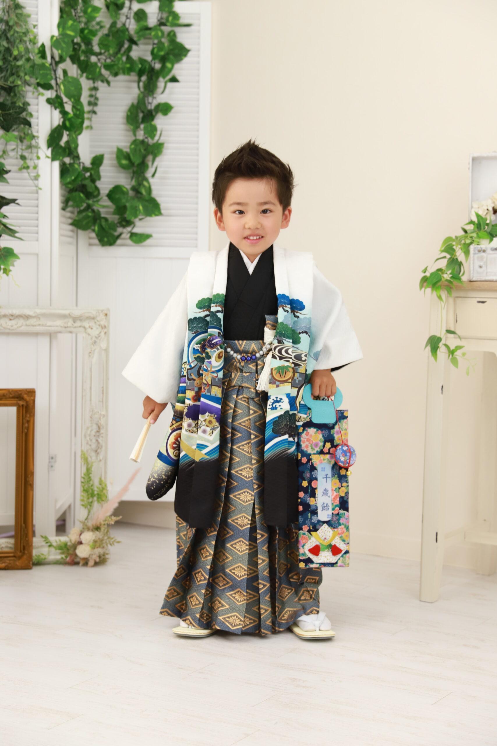 京都もなみの七五三撮影 5歳の着物コーディネート